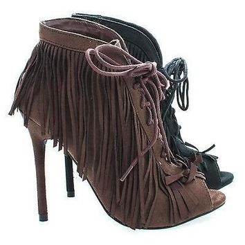 Beryl01 By Wild Rose, Peep Toe Fringe Lace Ankle Wrap Stiletto Heel Ankle Booties