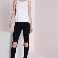 Missguided - Extreme Cut Out Knee Skinny Jeans Black
