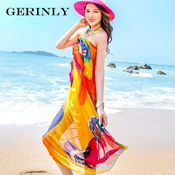 Scarves Sexy Women's Summer Chiffon Pareo Butterfly Print Swimsuit Beach Cover Up Plus Size Sarong Dress Ladies Hijab Wrap Scarf