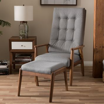Baxton Studio Roxy Mid-Century Modern Walnut Wood Finishing and Grey Fabric Upholstered Button-Tufted High-Back Lounge Chair and Ottoman Set Set of 1