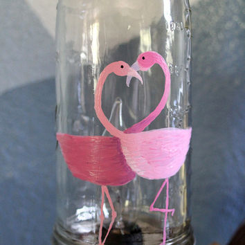 Mason Jar light custom painted Flamingo's, Kissing pink Flamingo's Mason Jar Lamp, Painted Mason Jar, Home Decor, table lamp, desk lamp