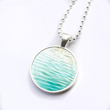 nautical necklace water ripples nautical glass tile pendant photography dome necklace teal mint aqua abstract water pendant necklace waves