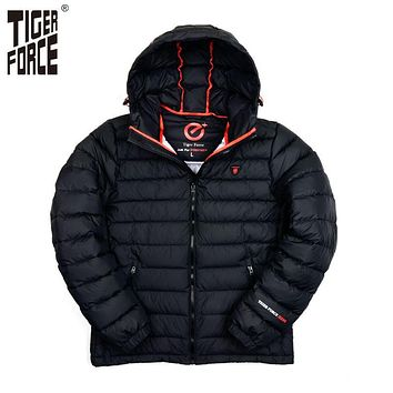 TIGER FORCE Brand Winter Jacket Mens Fashion Cotton Padded Jacket Winter Polyester Coat Bio-Cotton European Size Free Shipping