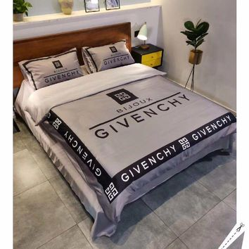 GIVENCHY Stylish Fashion Modal 4 Pieces Sheet Set Blanket For Home Decor Bedroom Living Rooms Sofa