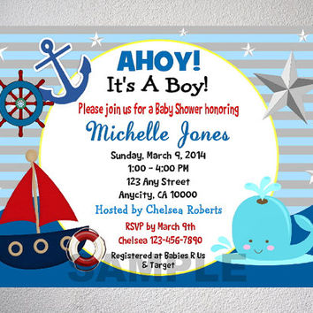 Nautical Boy Baby Shower Invitation Printable Sail Boat Theme With
