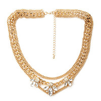 FOREVER 21 Layered Chain Petal Necklace Gold/Clear One