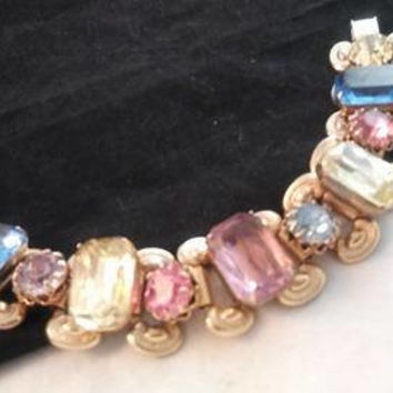 ON SALE Rare Vintage Yellow Pink Blue & White Ice Rhinestone High End Hard To Find Chunky Bracelet - Retro 1950's 1960's Jewelry