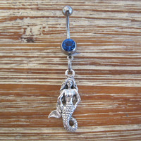 Belly Button Ring - Body Jewelry - Mermaid with Dark Blue Gem Stone Belly Button Ring