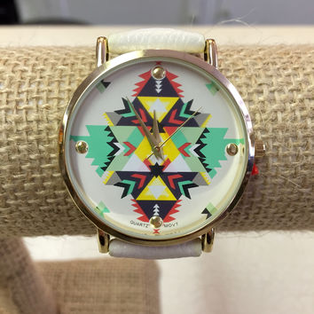 Tribal Watch with Leather Strap