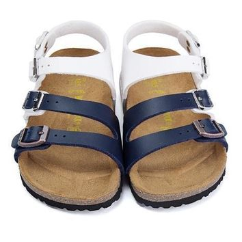 Birkenstock Leather Cork Flats Shoes Boys and girls Casual Sandals Shoes Soft Footbed Slippers-12