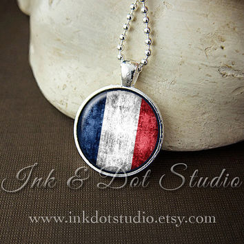 Rustic French Flag Necklace, France Flag Necklace, French Flag Pendant