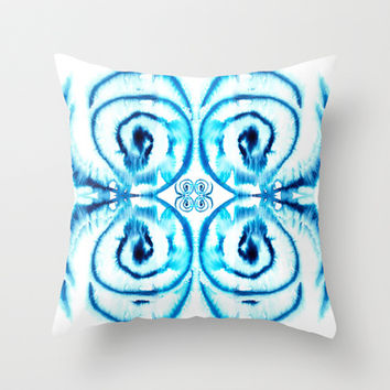 Blue Tie-Dye Throw Pillow by Catherine Holcombe | Society6