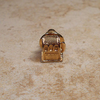 Slot Machine Vintage Tie Tack Lapel Pin Gold Tone Casino Gambling Gambler Slots Guys Formal Fun Figural Jewelry Gift