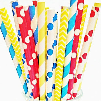 Carnival Circus Paper Straws -50 Chevron Polka Dot Striped Picnic Straw Summer Birthday Party