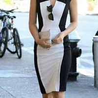 White and Black V-Neck Short Sleeve Dress