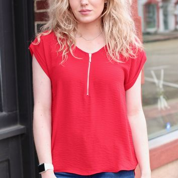 Zip It Blouse {Red}
