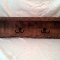 """30"""" Rustic Wall Mounted Shelf Coat rack with Natural Edge"""