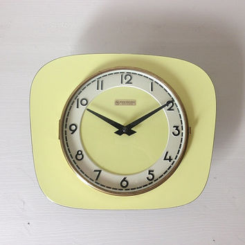 Vintage French Wall Clock Yellow Formica Mid Century Retro