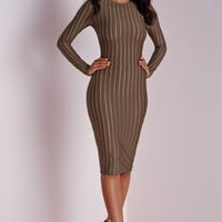 Missguided - Long Sleeve Striped Mesh Midi Dress Khaki