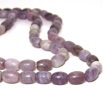 Lilac Stone Beads, 10mm x 8mm barrel oval gemstone, Full strand (690S)