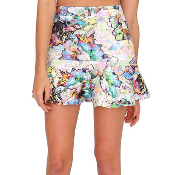 Scent Of Flower Skirt - Floral Print