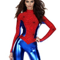 Red And Blue Spider Girl Cosplay Costume Long Sleeve Sexy Women Halloween Spider Jumpsuit Web Bodysuit Superheroes Suit