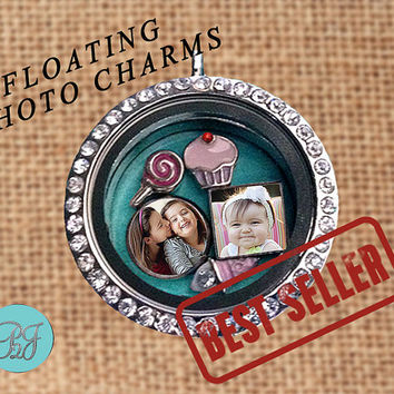 Floating Charms. Origami Owl Floating Photo Charms for Living locket floating charms. Personalized charms gift