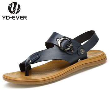 2017 Genuine Leather Men sandals,plus size Summer fashion brand beach slippers Men's flip flops casual moccasin Soft Loafers