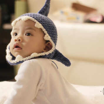 Jaws - Cute Shark Baby Beanie Earflap Hat - made to order - Perfect for Halloween costume and accessory