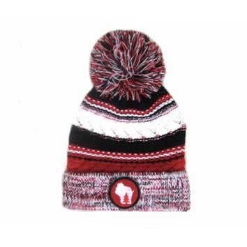 Chunky Knit Pom Pom Beanie - Wisconsin red and black