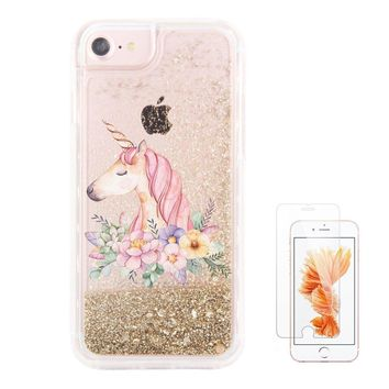 """iPhone 6S Plus 6 Plus Case iPhone 7 Plus 8 Plus Case uCOLOR Gold Glitter Floral Unicorn Waterfall Clear Protective Case for iPhone 6S Plus/ 6 Plus (5.5"""") with Slim Tempered Glass Screen Protector"""