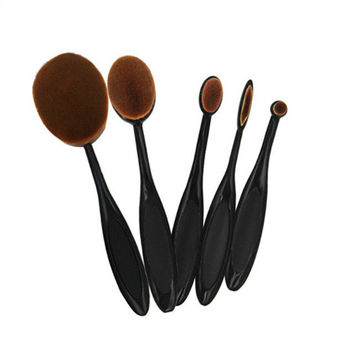 5Pcs Oval Brush Make Up Toothbrush Set  RoseGold Hotpink Oval Makeup Brush Set Cosmetic Brushes For Makeup Oval Brush Set