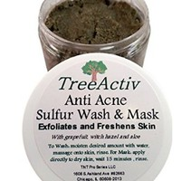 TreeActiv Anti Acne & Rosacea Treatment Sulfur Mask Plus Rhassoul, Bentonite Clay Mask with Witch Hazel & Aloe Vera - Refreshing Lemon Scent (1 Jar) (4 Oz)