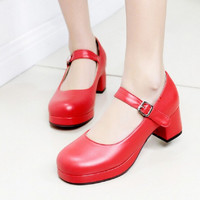 Womens Lolita Bowknot Mary Janes Buckle Strap Low Heel Pumps Shoes Woman Plus Size New Court Shoes High Heel Zapatos Mujer