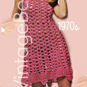 INSTANT DOWNLOAD - PdF Pattern - Seashell Border Dress CROCHET Pattern 1970s Vintage Crochet Pattern Beach Cover-up Sexy Dress Vixen Wear