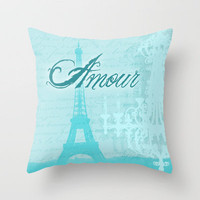French Inspired Amour Eiffel Tower Print Throw Pillow by Doodle's Designs | Society6