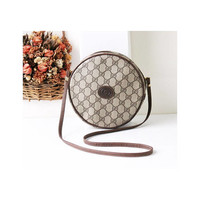 Gucci Bag Vintage Monogram Brown Round Shoulder Handbag Purse Authentic Rare
