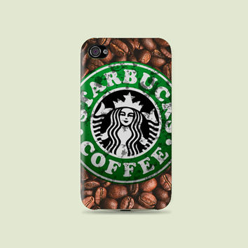 Coffee bean & Dirty Grunge Starbucks Plastic Hard Case - iphone 5 - iphone 4 - iphone 4s - Samsung S3 - Samsung S4 - Samsung Note 2