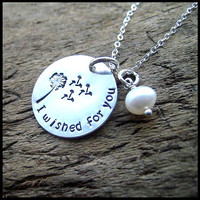 I Wished For You Hand Stamped Sterling Dandelion Necklace
