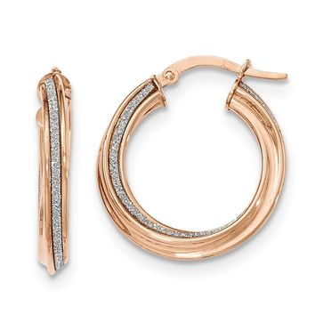 14K Rose Gold Polished Glitter Infused Twisted Small Round Hoop Earrings