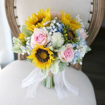 Wedding Bridal floral bouquet pink rose sunflower blue hydrangeas