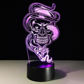 3D Ghost Illusion Night Light 7 Color Change bedroom LED desk table light lamp Skull Snake