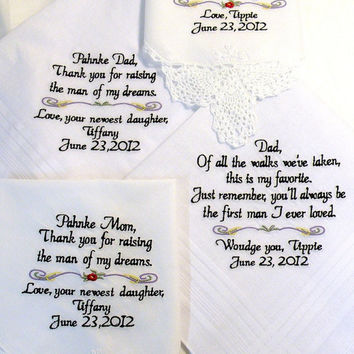 Set of 4 Wedding Gifts Handkerchiefs Mother or Father of the Bride Mother Mother Father of the Groom Personalized By Canyon Embroidery