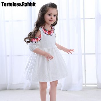 Summer Girls Off Shoulder Dress Child Girl A Line Dresses Kids Pure Color Flower Dress For Party Children Beach Dance Clothes