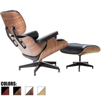 2xhome - 100% Genuine Real Italian Leather Modern Classic Plywood Eames Lounge Chair and Ottoman - Eames Chair | Overstock.com Shopping - The Best Deals on Living Room Chairs