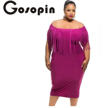 Gosopin Off Shoulder Dress Sexy Club Robes Femme Black/Rosy Short Sleeve Fringe Top Strecth Plus Size 3XL Bodycon Dress LC61055