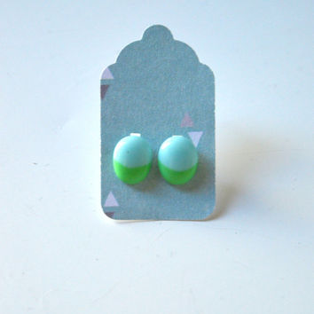 Stud Earrings - Robins Egg Pale Blue and Pastel Green Stud Earrings - Tiny Stud Earrings - Post Earrings - Colorful Earrings -  Enamel Studs