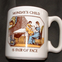 Vintage Pfaltzgraff Monday's Child is Fair of Face Mug