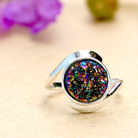 Rainbow Druzy Ring,Peacock Ring,Crystal Ring,Agate Ring,Gemstone Ring,Geode Ring,statement ring,Mom Ring,Mother Ring