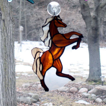 """Stained Glass Horse Large 10"""" Suncatcher"""
